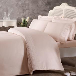 Постельное белье Tivolyo Home ARIAN хлопковый люкс-сатин розовый евро