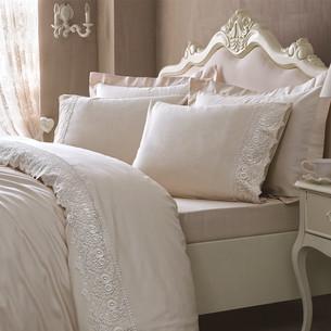 Постельное белье Tivolyo Home ELEGANT хлопковый сатин бежевый 1,5 спальный