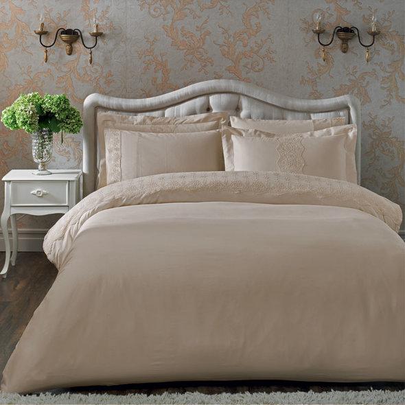 Комплект постельного белья Tivolyo Home CAMEO хлопковый сатин (бежевый) евро, фото, фотография