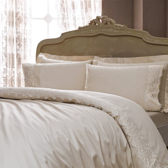 Комплект постельного белья Tivolyo Home MINOSO хлопковый сатин (бежевый)