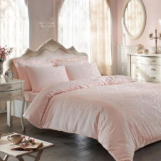 Постельное белье Tivolyo Home BAMBURA бамбуковый сатин-жаккард розовый