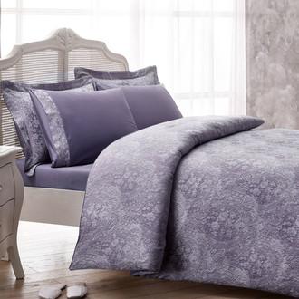 Комплект постельного белья Tivolyo Home CROCODILE бамбуковый сатин-жаккард (лиловый)
