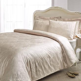 Комплект постельного белья Tivolyo Home JAKARLI PRINCESS бамбуковый сатин-жаккард (бежевый)