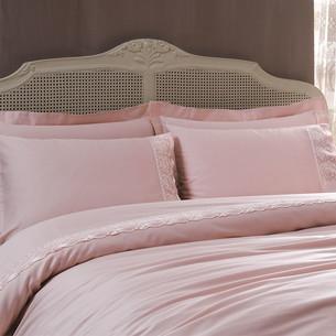 Постельное белье Tivolyo Home DIAMANT хлопковый сатин пудра 1,5 спальный