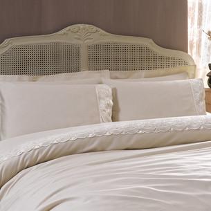 Постельное белье Tivolyo Home DIAMANT хлопковый сатин бежевый 1,5 спальный