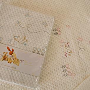 Плед детский для новорожденных Tivolyo Home STORK хлопок голубой 85х90