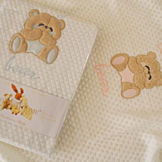 Плед детский для новорожденных Tivolyo Home LOVELY хлопок (голубой)
