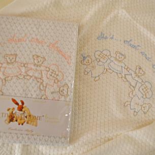 Плед детский для новорожденных Tivolyo Home FAMILY хлопок голубой 85х90