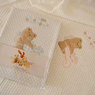 Плед детский для новорожденных Tivolyo Home POURTOL хлопок голубой 85х90