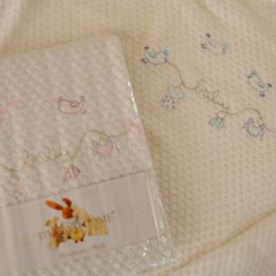 Плед детский для новорожденных Tivolyo Home COUPLE хлопок голубой 85х90