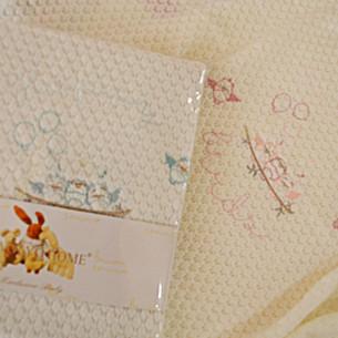 Плед детский для новорожденных Tivolyo Home HAPPY хлопок голубой 85х90
