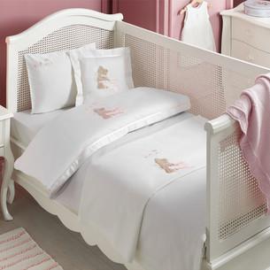Постельное белье для новорожденных Tivolyo Home POURTOL BEBE хлопковый сатин розовый