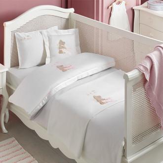 Комплект детского постельного белья в кроватку Tivolyo Home POURTOL BEBE хлопковый сатин (розовый)