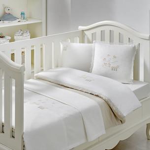 Постельное белье для новорожденных Tivolyo Home STORK BEBE хлопковый сатин бежевый