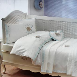 Комплект детского постельного белья для новорожденных с пледом Tivolyo Home FISHY BEBE хлопковый сатин (синий)
