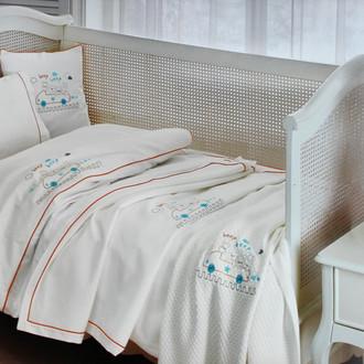 Комплект детского постельного белья для новорожденных с пледом Tivolyo Home BEEP BEBE хлопковый сатин