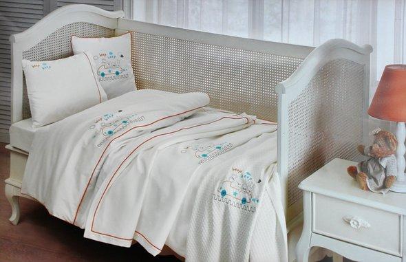Детское постельное белье для новорожденных с пледом Tivolyo Home BEEP BEBE хлопковый сатин, фото, фотография