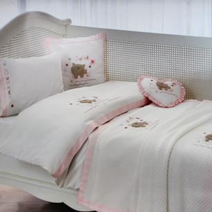 Детское постельное белье для новорожденных с пледом Tivolyo Home FISHY BEBE хлопковый сатин розовый