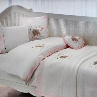 Комплект детского постельного белья для новорожденных с пледом Tivolyo Home FISHY BEBE хлопковый сатин (розовый)
