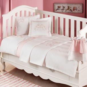 Детское постельное белье для новорожденных с пледом Tivolyo Home FAMILY BEBE хлопковый сатин розовый