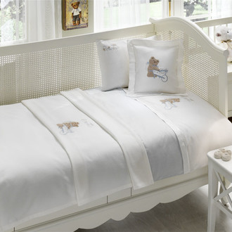 Комплект детского постельного белья для новорожденных с пледом Tivolyo Home POURTOL BEBE хлопковый сатин (голубой)