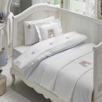 Комплект детского постельного белья для новорожденных с пледом Tivolyo Home LOVELY BEBE хлопковый сатин голубой