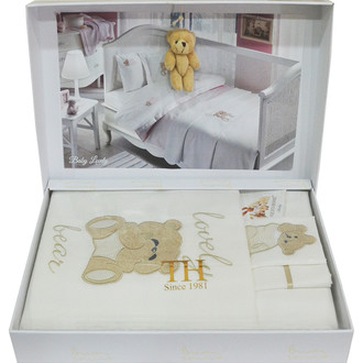 Комплект детского постельного белья для новорожденных с пледом Tivolyo Home LOVELY BEBE хлопковый сатин (коричневый)