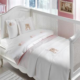 Детское постельное белье для новорожденных с пледом Tivolyo Home LOVELY BEBE хлопковый сатин розовый