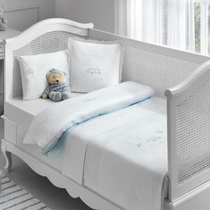 Постельное белье для новорожденных с пледом-пике Tivolyo Home HAPPY BEBE хлопковый сатин делюкс голубой