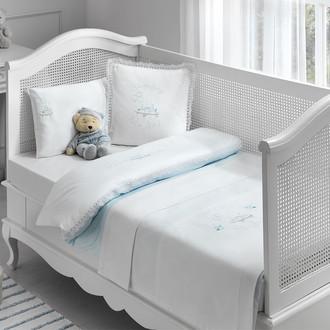 Комплект детского постельного белья для новорожденных с пледом Tivolyo Home HAPPY BEBE хлопковый сатин (голубой)
