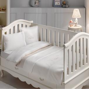 Постельное белье для новорожденных с пледом-пике Tivolyo Home HAPPY BEBE хлопковый сатин делюкс бежевый