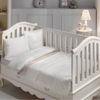 Комплект детского постельного белья для новорожденных с пледом Tivolyo Home HAPPY BEBE хлопковый сатин (бежевый)