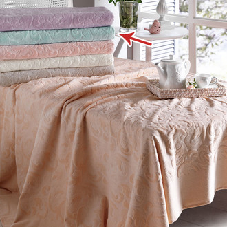 Комплект постельного белья с махровой простынью-покрывалом Tivolyo Home BAROC хлопок (зелёный)