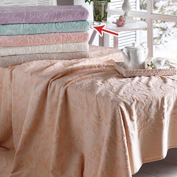 Постельное белье с махровой простынью-покрывалом Tivolyo Home BAROC хлопок (зелёный) 1,5 спальный, фото, фотография