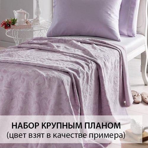 Постельное белье с махровой простынью-покрывалом Tivolyo Home BAROC хлопок зелёный евро, фото, фотография