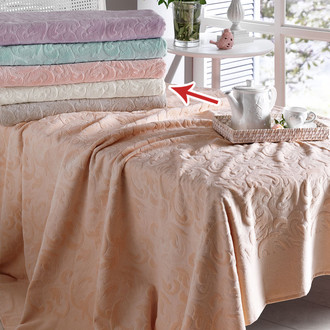 Постельное белье с махровой простынью-покрывалом Tivolyo Home BAROC хлопок (кремовый)
