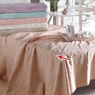 Постельное белье с махровой простынью-покрывалом Tivolyo Home BAROC хлопок персиковый евро