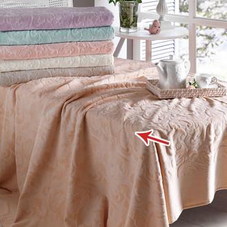 Постельное белье с махровой простынью-покрывалом Tivolyo Home BAROC хлопок персиковый