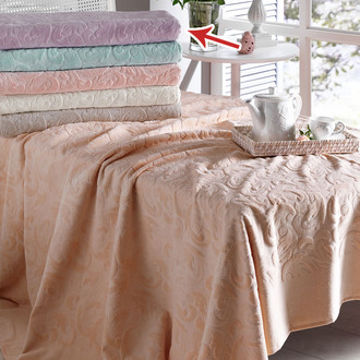 Постельное белье с махровой простынью-покрывалом Tivolyo Home BAROC хлопок лиловый