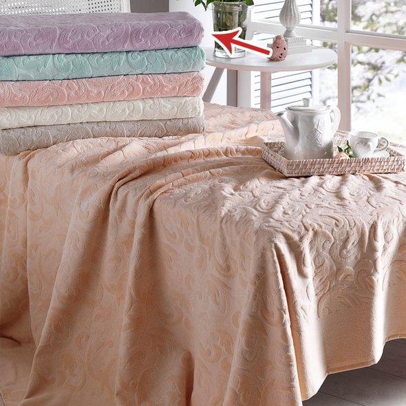 Комплект постельного белья с махровой простынью-покрывалом Tivolyo Home BAROC хлопок (лиловый) евро, фото, фотография