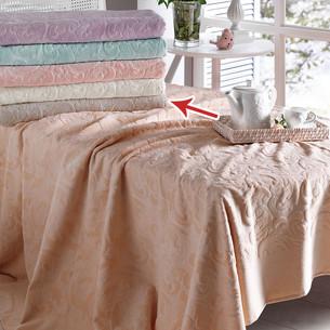 Постельное белье с махровой простынью-покрывалом Tivolyo Home BAROC хлопок бежевый евро