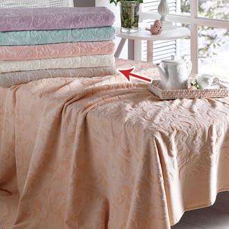 Постельное белье с махровой простынью-покрывалом Tivolyo Home BAROC хлопок бежевый