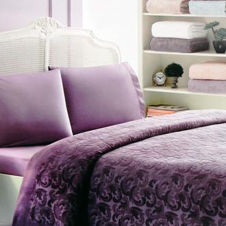 Постельное белье с махровой простынью-покрывалом Tivolyo Home BAROC хлопок фиолетовый