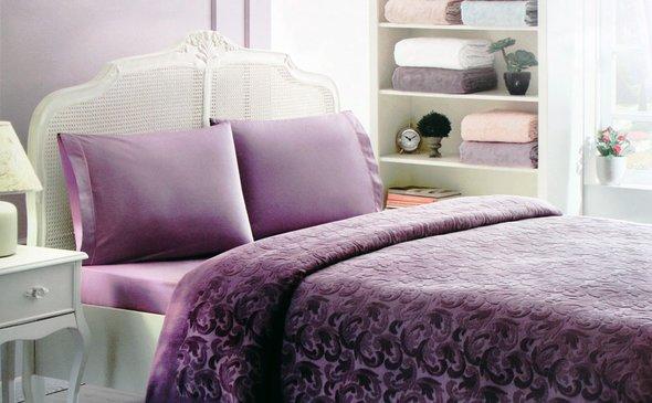 Постельное белье с махровой простынью-покрывалом Tivolyo Home BAROC хлопок (фиолетовый) 1,5 спальный, фото, фотография