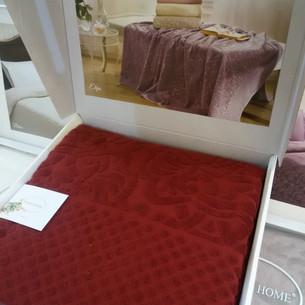 Махровая простынь-покрывало для укрывания Tivolyo Home ELIPS хлопок бордовый 220х240