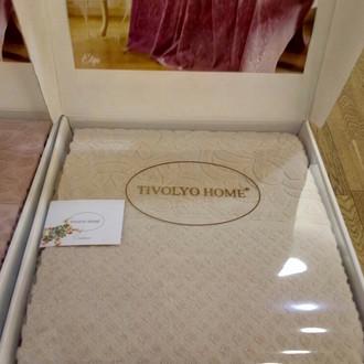 Махровая простынь-покрывало для укрывания Tivolyo Home ELIPS хлопок бежевый
