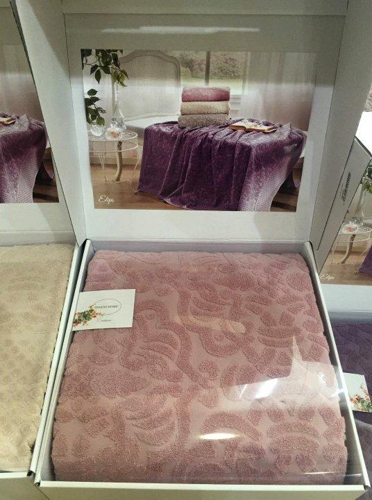 Махровая простынь-покрывало для укрывания Tivolyo Home ELIPS хлопок (грязно-розовый) 220*240, фото, фотография