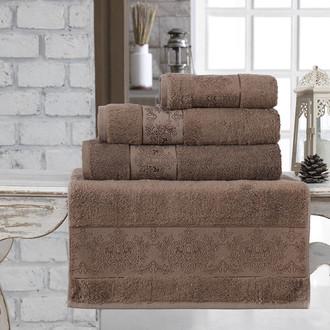 Полотенце для ванной Karna PANDORA бамбуковая махра коричневый