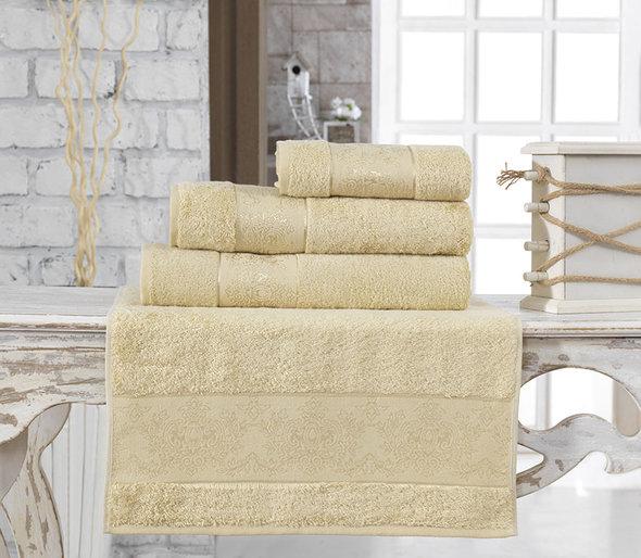 Полотенце для ванной Karna PANDORA бамбуковая махра (золотистый) 90*150, фото, фотография