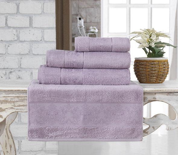 Полотенце для ванной Karna PANDORA бамбуковая махра светло-лавандовый 50х90, фото, фотография